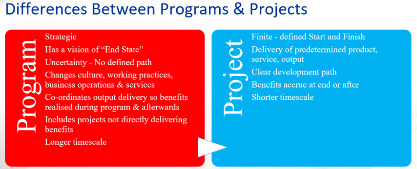 Differences Between Programs and Projects